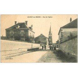 carte postale ancienne 51 AULNAY-SUR-MARNE. Rue de l'Eglise 1912
