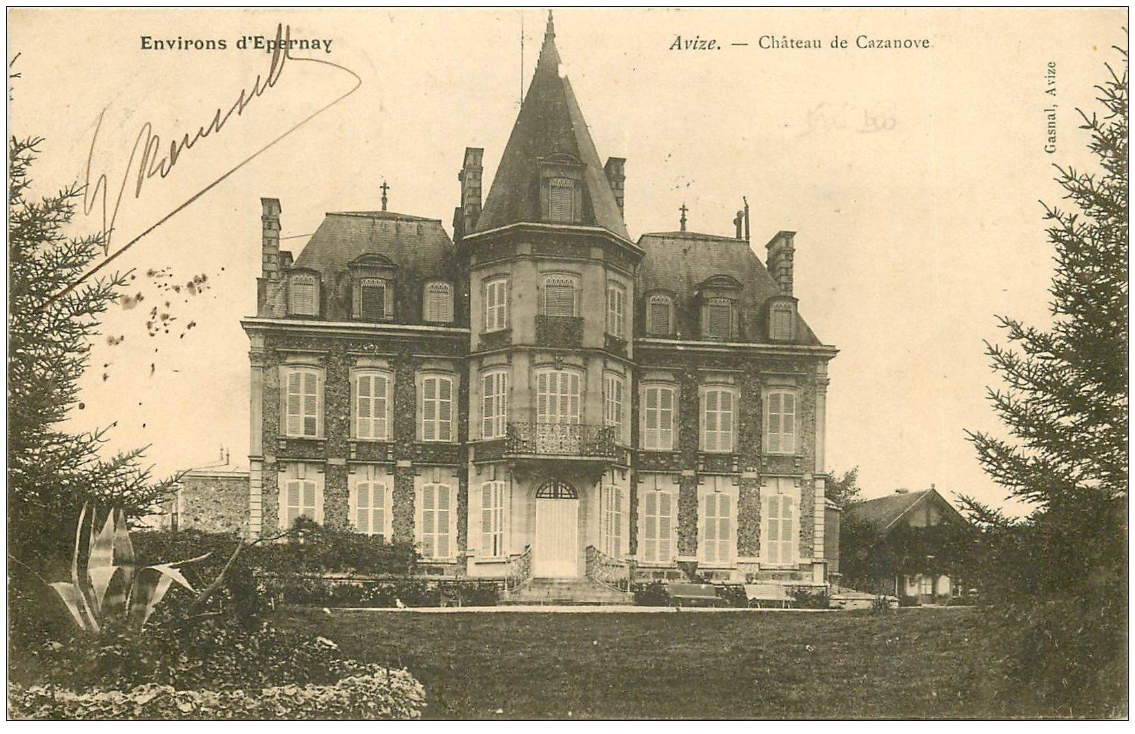 carte postale ancienne 51 AVIZE. Le Château de Cazanove 1905