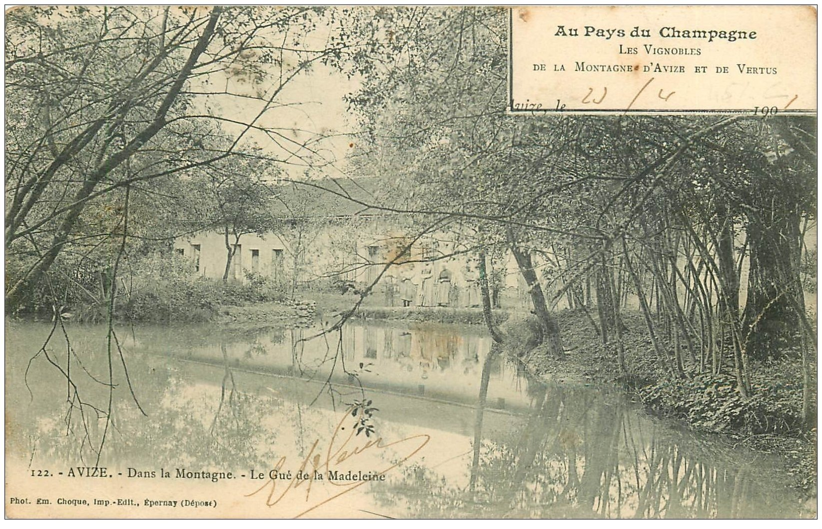 carte postale ancienne 51 AVIZE. Le Gué de la Madeleine 1903