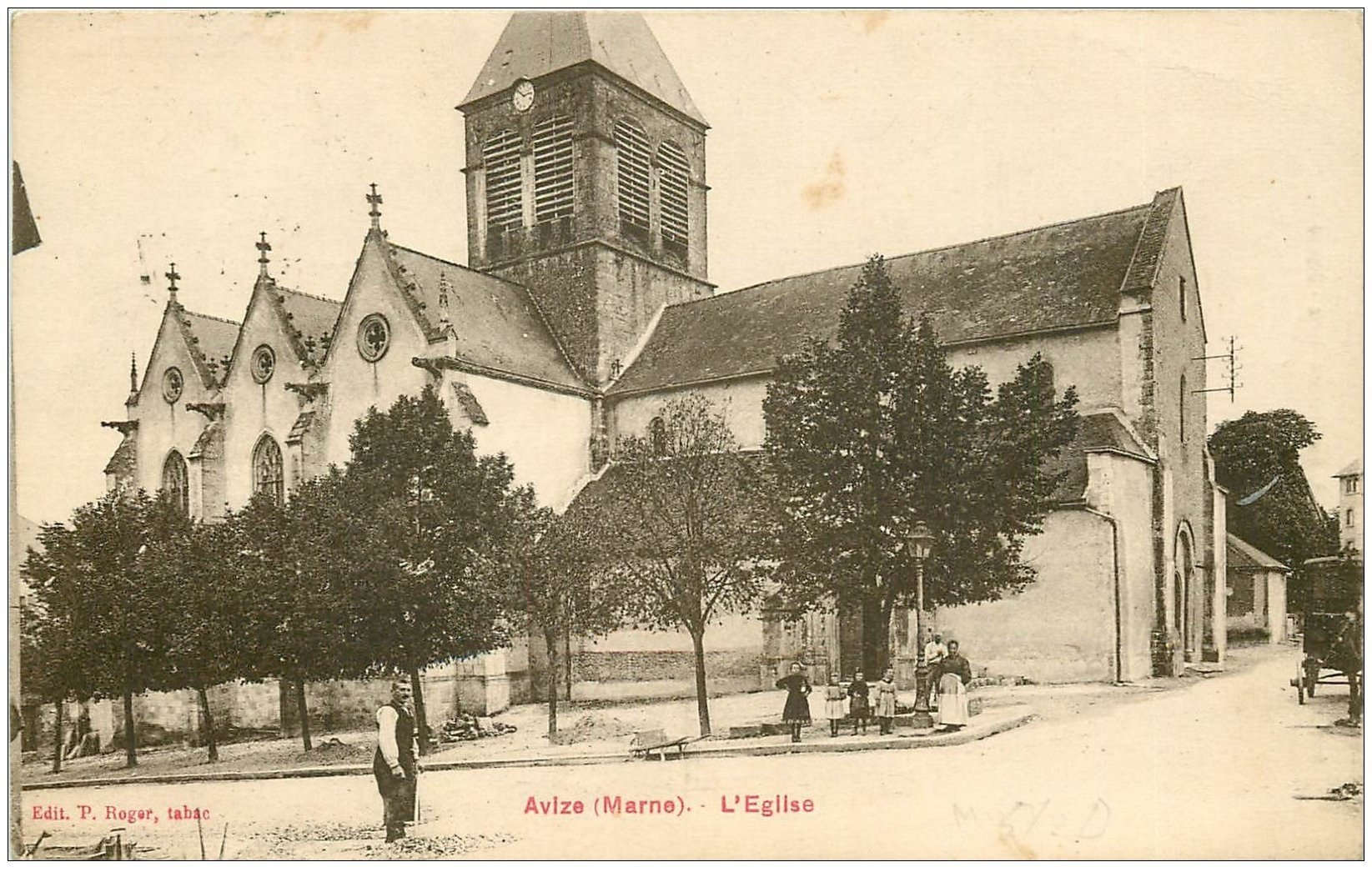 carte postale ancienne 51 AVIZE. L'Eglise 1928