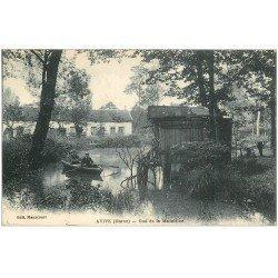 carte postale ancienne 51 AVIZE. Rameurs sur barque au Gué de la Madeleine 1925