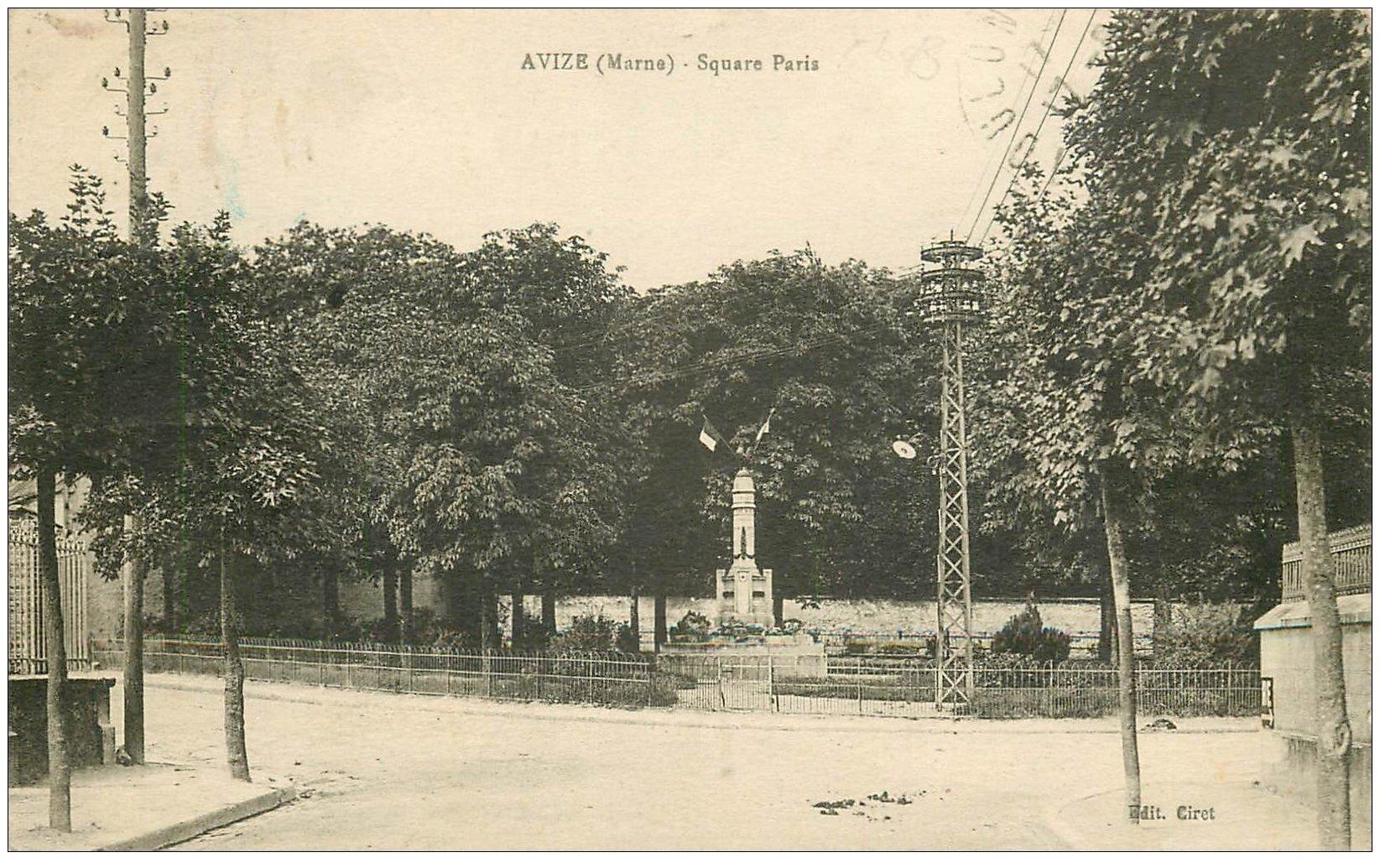 carte postale ancienne 51 AVIZE. Square Paris 1932