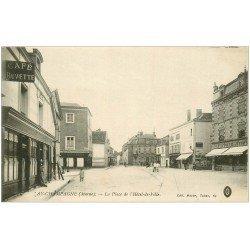 carte postale ancienne 51 AY EN CHAMPAGNE. Café Buvette Place Hôtel de Ville