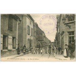 carte postale ancienne 51 AY EN CHAMPAGNE. La Rue de Châlons. Tampon Militaire 1919