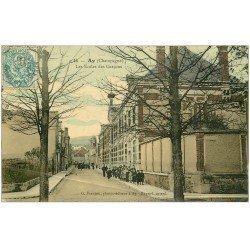 carte postale ancienne 51 AY EN CHAMPAGNE. Les Ecoles des Garçons 1906