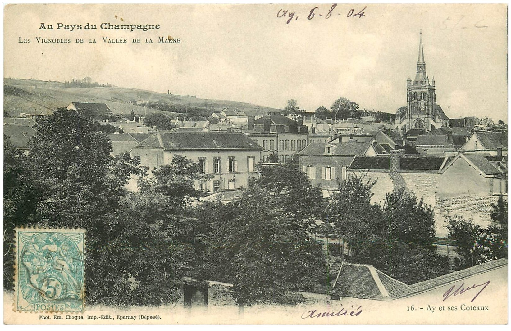 carte postale ancienne 51 AY EN CHAMPAGNE. Les Vignobles sur Coteaux 1904