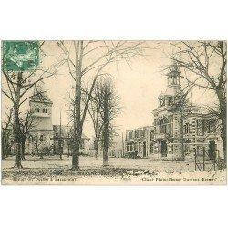 carte postale ancienne 51 BAZANCOURT. Mairie et Eglise