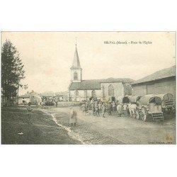 carte postale ancienne 51 BELVAL. Militaires Place de l'Eglise 1916