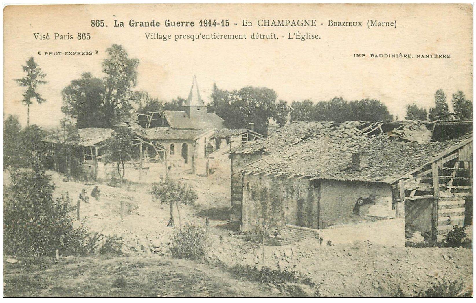 carte postale ancienne 51 BERZIEUX. Eglise du Village détruite 1915
