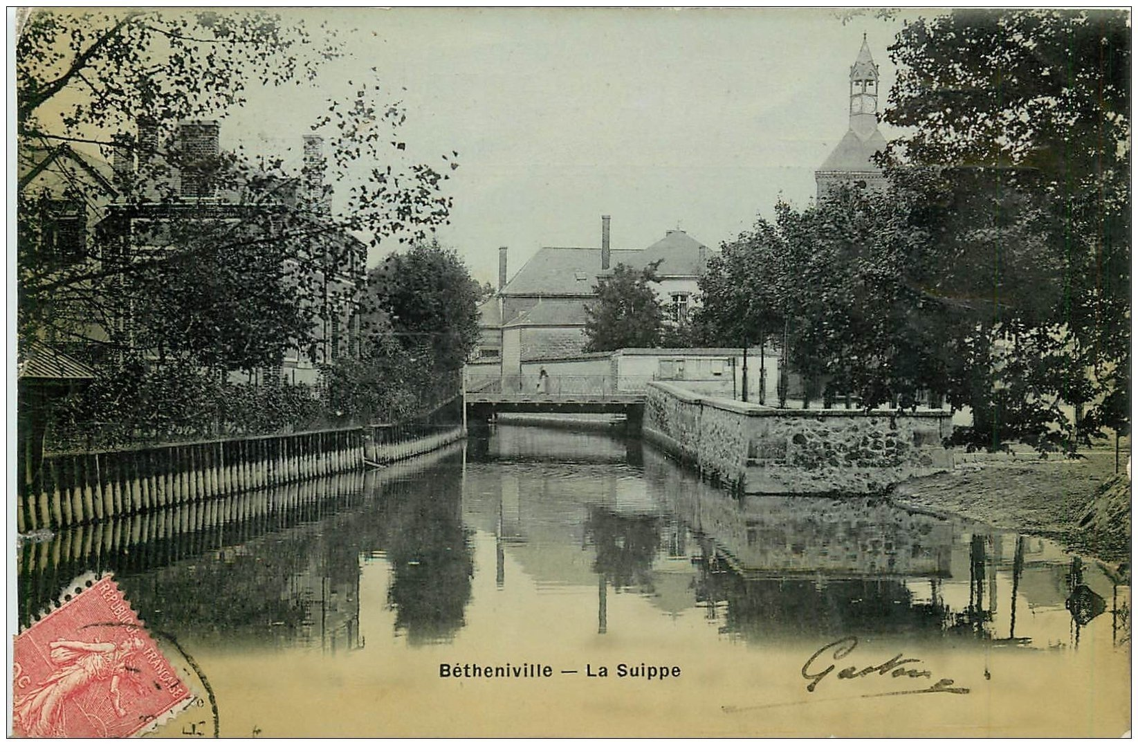 carte postale ancienne 51 BETHENIVILLE. La Suippe 1906