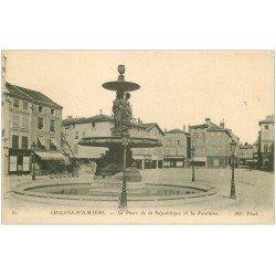 carte postale ancienne 51 CHALONS-SUR-MARNE. Fontaine Place République Bijouterie et Restaurant