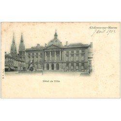carte postale ancienne 51 CHALONS-SUR-MARNE. Hôtel de Ville 1902 Timbre 1 centime