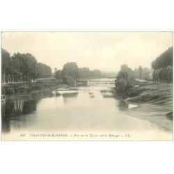 carte postale ancienne 51 CHALONS-SUR-MARNE. La Marne vers le Barrage. Détachée d'un support...