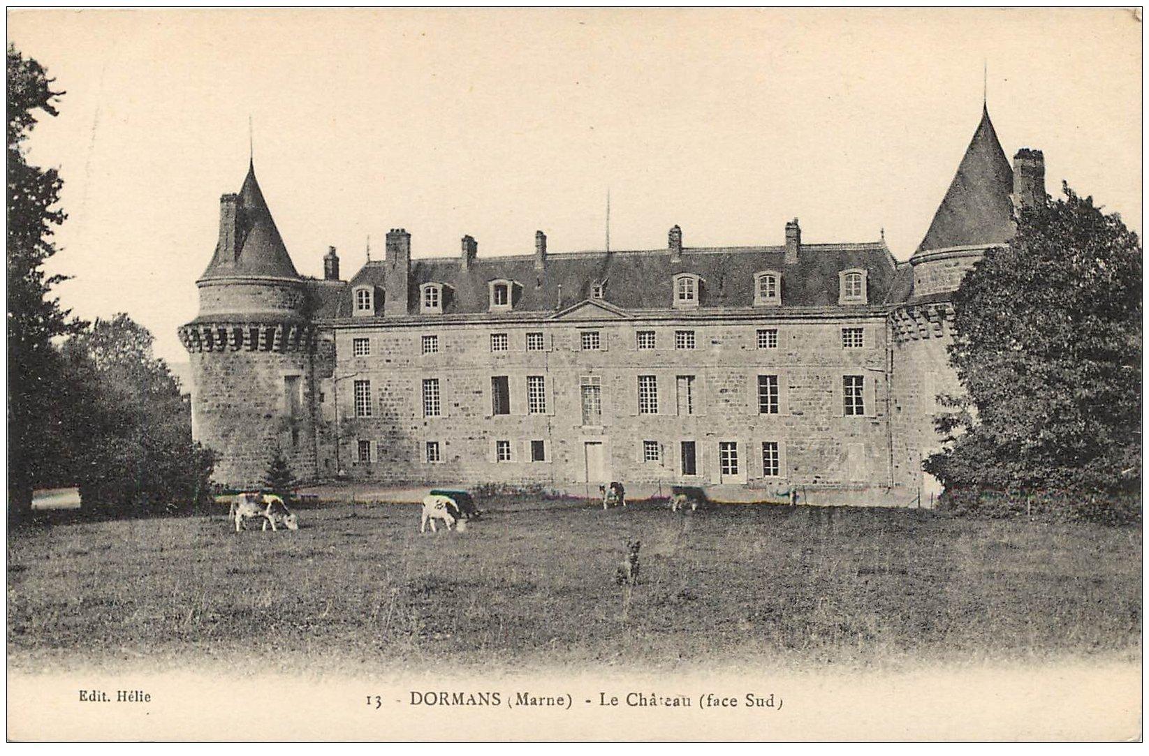 carte postale ancienne 51 DORMANS. Le Château et Vaches
