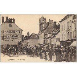 carte postale ancienne 51 DORMANS. Le Marché 1918 Imprimerie et Pharmacie