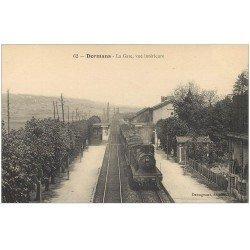 carte postale ancienne 51 DORMANS. Train dans la Gare 1917