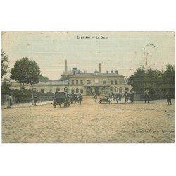 carte postale ancienne 51 EPERNAY. La Gare. Carte toilée 1910