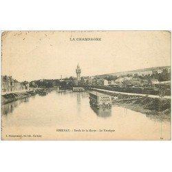 carte postale ancienne 51 EPERNAY. Lavoir Parisien sur la Marne la Nautique 1917