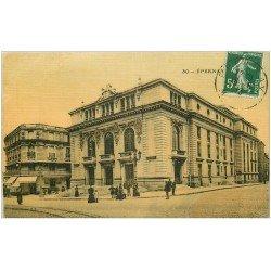 carte postale ancienne 51 EPERNAY. Le Théâtre 1913 carte toilée