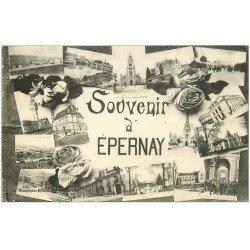 carte postale ancienne 51 EPERNAY. Multivues
