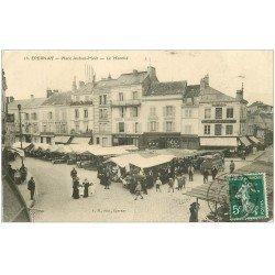 carte postale ancienne 51 EPERNAY. Place Auban-Moët et le Marché 1909