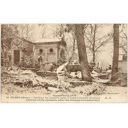 carte postale ancienne 51 FISMES. Cimetière bombardé