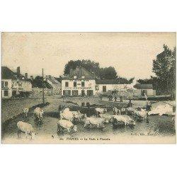 carte postale ancienne 51 FISMES. La Vesle à Fismette. Vaches se désaltérant et Café au Lion d'Or 1917 (défaut)