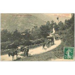 carte postale ancienne 09 AX-LES-THERMES. Attelages Route d'Ascou 1913