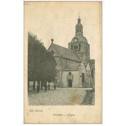 carte postale ancienne 51 FISMES. L'Eglise 1917 animation