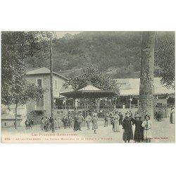 carte postale ancienne 09 AX-LES-THERMES. Casino et Kiosque à Musique. Timbrée mais vierge...