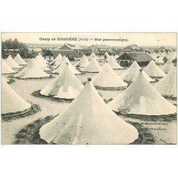 carte postale ancienne 02 CAMP SISSONNE. Vue panoramique sur les tentes