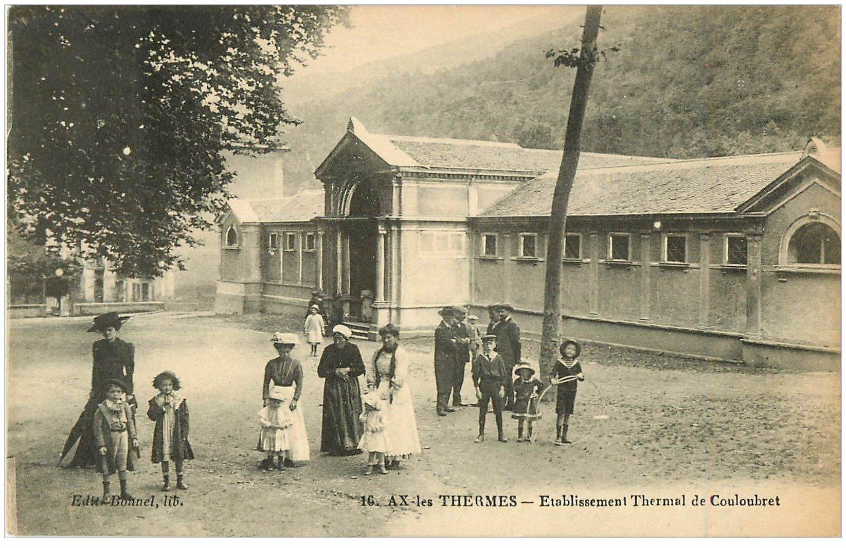 carte postale ancienne 09 AX-LES-THERMES. Etablissement Thermal de Couloubret 1923