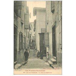 carte postale ancienne 09 AX-LES-THERMES. La Rue des Escaliers