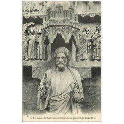 carte postale ancienne 51 REIMS Cahédrale. Beau Dieu Jugement