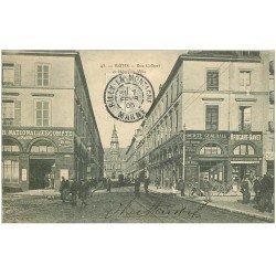 carte postale ancienne 51 REIMS. Banque Société Générale et Escompte Rue Colbert 1906
