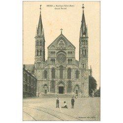 carte postale ancienne 51 REIMS. Basilique Saint-Remi Portail