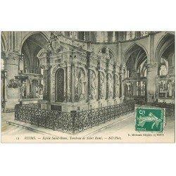 carte postale ancienne 51 REIMS. Basilique Saint-Remi Tombeau 1912