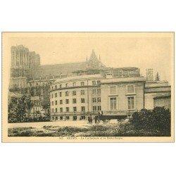 carte postale ancienne 51 REIMS. Bibliothèque et Transports Walbaum