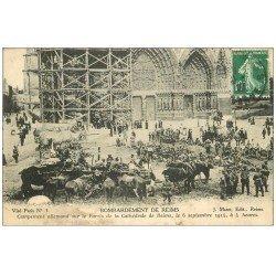 carte postale ancienne 51 REIMS. Campement Allemand Parvis Cathédrale