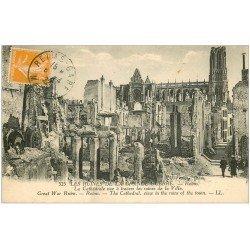 carte postale ancienne 51 REIMS. Cathédrale 1922 animation