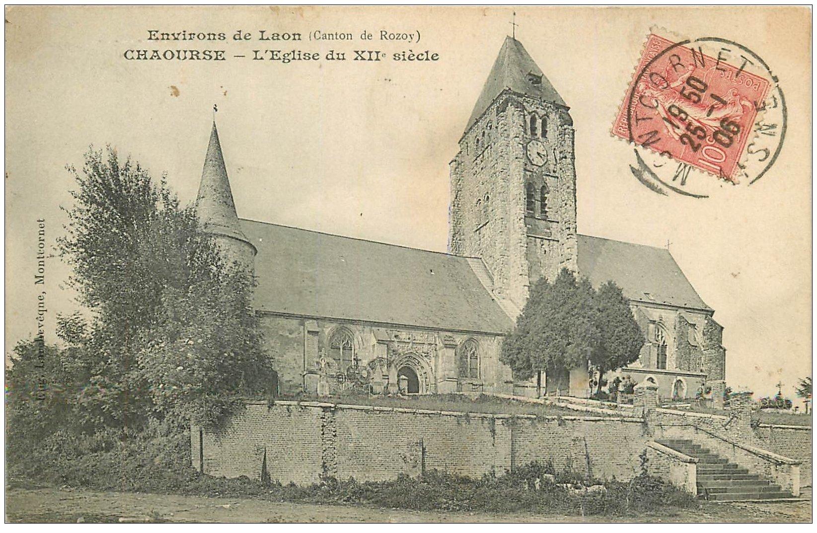 carte postale ancienne 02 CHAOURSE. L'Eglise 1906