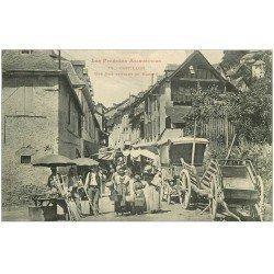 carte postale ancienne 09 CASTILLON. Une Rue pendant le Marché. Vente d'Echasses ou manches de Faux en bois