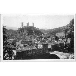 carte postale ancienne 09 FOIX. Eglise et Château Quartier du Pont. Photo émaillographie
