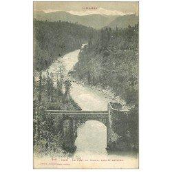 carte postale ancienne 09 FOIX. Le Pont du Diable. Timbres Taxe 1919