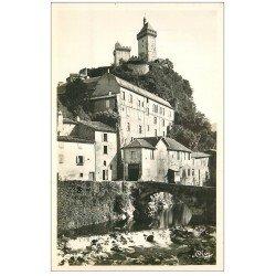 carte postale ancienne 09 FOIX. Palais de Justice et Château. Carte Photo émaillographie