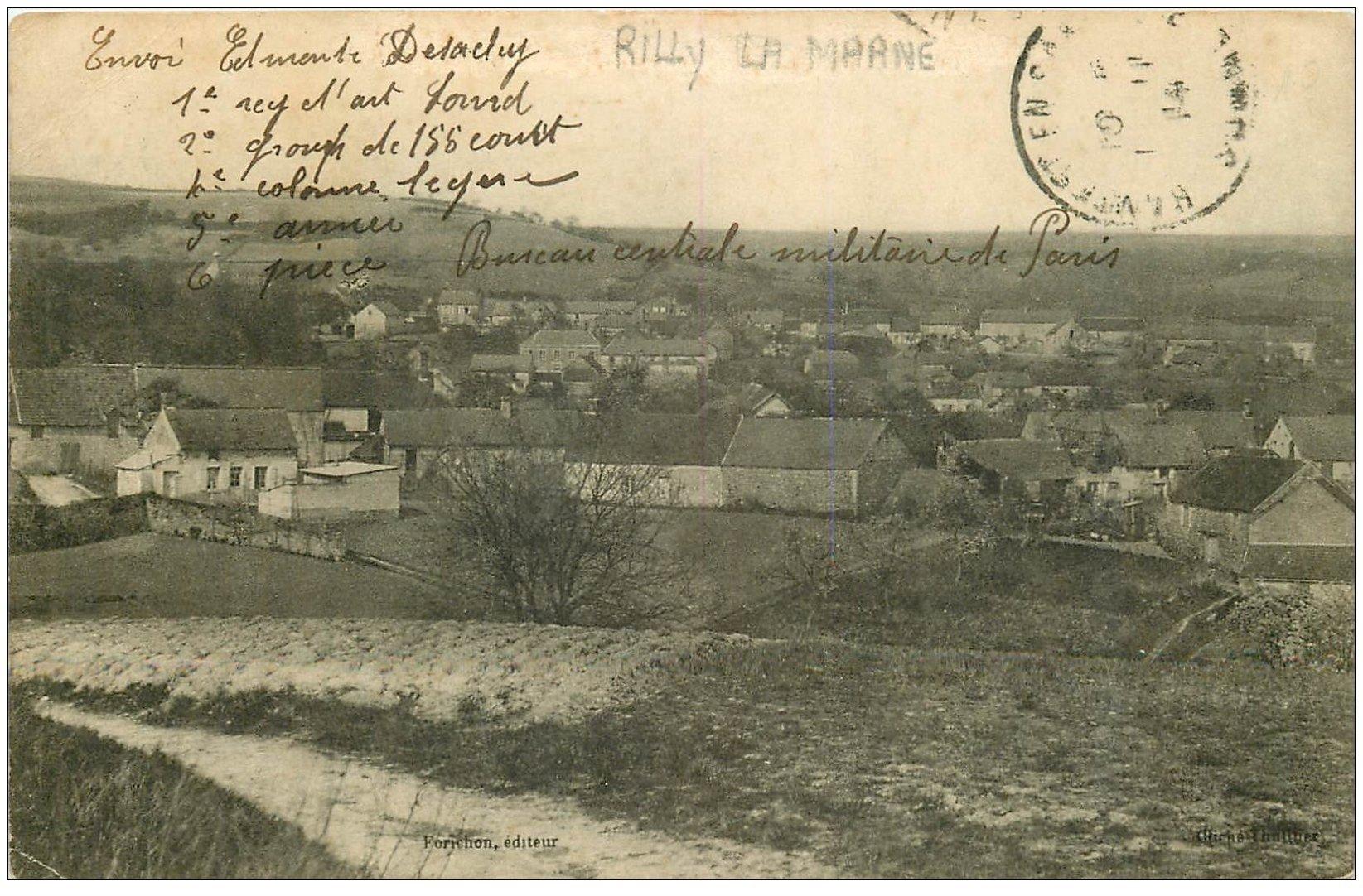 carte postale ancienne 51 RILLY-LA-MONTAGNE. Le Village 1914