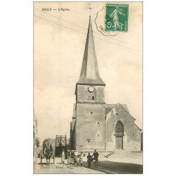 carte postale ancienne 51 RILLY-LA-MONTAGNE. L'Eglise rue de Reims 1910