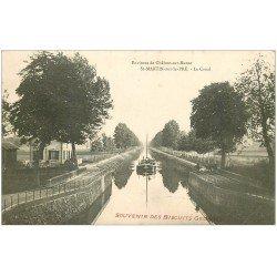 carte postale ancienne 51 SAINT-MARTIN-SUR-LE-PRE. Le Canal avec Péniches et Chevaux de halage
