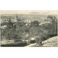 carte postale ancienne 51 SEZANNE. Laboureur sur son Champ 1917