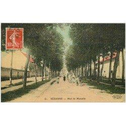 carte postale ancienne 51 SEZANNE. Mail de Marseille. Carte toilée 1908